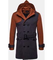 giacca da uomo in lana patchwork di media lunghezza a doppio petto cintura trench coat con cappuccio casual