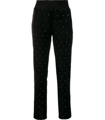 chiara ferragni crystal embellished trousers - black