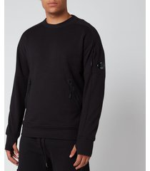 c.p. company men's front zip pocket sweatshirt - black - xxl