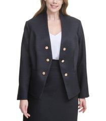 calvin klein plus size open-front asymmetrical jacket