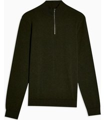 mens khaki marl essential zip turtle sweater