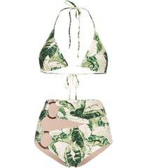 adriana degreas tropical print hoop-embellished bikini - green