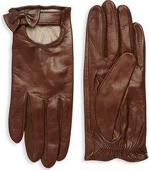 portolano women's bow leather gloves - cork - size 6.5