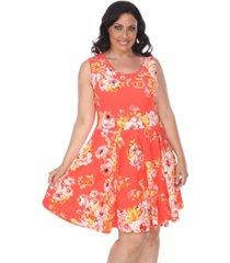 white mark women's plus size flower print crystal dress