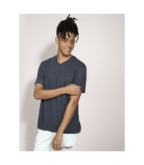 camiseta básica manga curta gola v cinza mescla