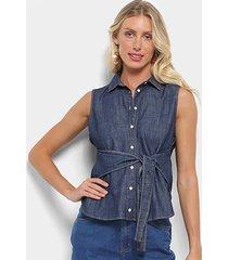 camisa jeans colcci amarração feminina