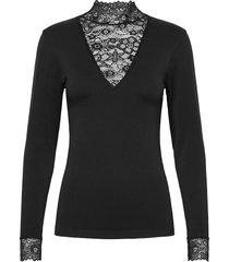 vanessa v-cut blouse blus långärmad svart minus