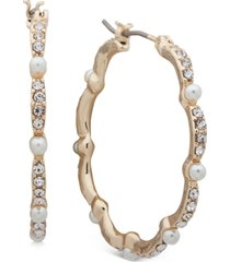 """anne klein gold-tone medium pave & imitation pearl scalloped hoop earrings, 1.25"""""""