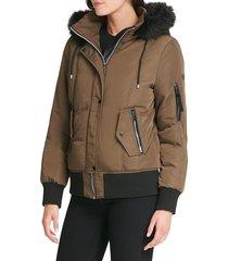 dkny women's faux fur-trim hooded bomber - olive camo - size xxs