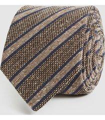 reiss duncan - silk blend striped tie in mid brown, mens