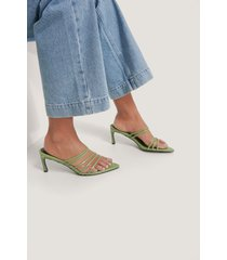 na-kd shoes strappy pointy sandals - green