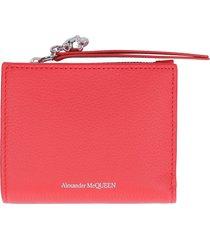 alexander mcqueen grainy leather wallet
