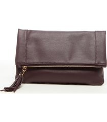 sole society convertible faux leather clutch - burgundy