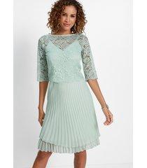 2-dlg. chiffon jurk met kant en plissé