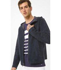 giacca con cappuccio in tessuto scamosciato accoppiato