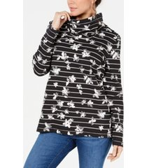 karen scott petite floral-print striped funnel-neck top, created for macy's