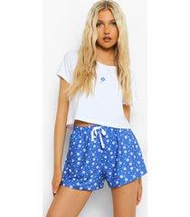 kort bloemenprint pyjama set met t-shirt en shorts, cobalt
