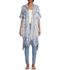 lulla collection by bindya women's tie-dyed kimono - blue white