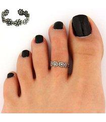 anello da dito aperto per donna, in argento, con fiore, regolabile, per donna