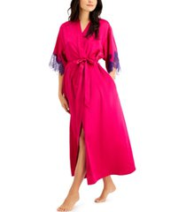 inc lace-trim satin wrap robe, created for macy's