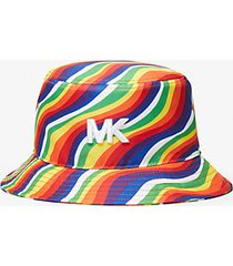 mk cappello a secchiello pride in cotone con stampa ondulata arcobaleno - cangiante (nero) - michael kors