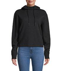 stretch-cotton drawstring hoodie