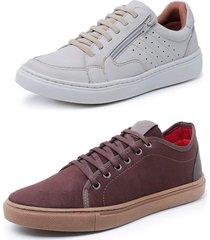 kit 2 sapatenis sandalo soft off white e levit marrom