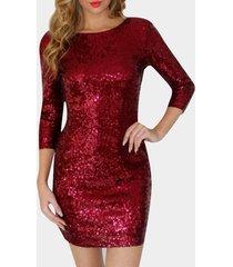 vestido de fiesta con mangas 3/4 de cuello redondo rojo brillante