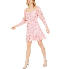 bar iii floral-print shirred dress, created for macy's