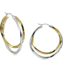argento vivo medium two-tone twist hoop earrings in sterling silver & 18k gold-plate, 1.25""