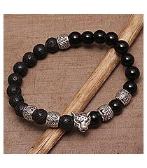 onyx and lava stone beaded stretch bracelet, 'leopard strength' (indonesia)