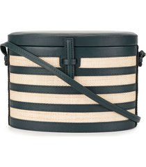 hunting season striped the round trunk crossbody bag - blue