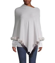 ombre rabbit fur-trim poncho