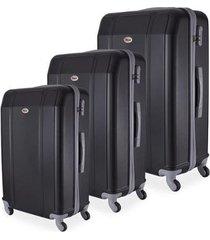 conjunto de mala de viagem em abs ika continental cadeado rodas giro 360º 3 peças p/m/g