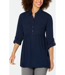 style & co roll-sleeve oversized shirt, created for macy's