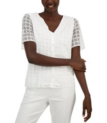 alfani grid-texture button-up shirt, created for macy's