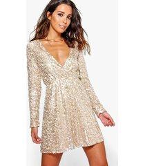 boutique sequin wrap skater dress, gold