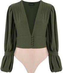 olympiah império wide sleeves bodysuit - green