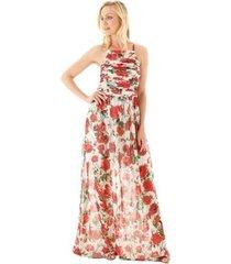 vestido aha floral franzido e alças finas feminina - feminino
