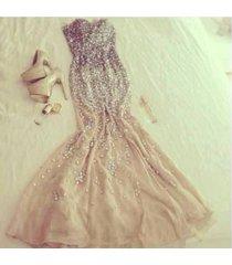champgne chiffon sexy mermaid sweetheart heavy bead crystals evening prom dress
