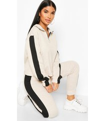 petite funnel neck side stripe sweat top, oatmeal