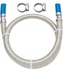 ligação flexível em inox para gás com espigão 3/8'' e abraçadeira com 1,50 metro