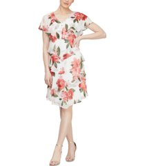 sl fashions petite floral-print shift dress