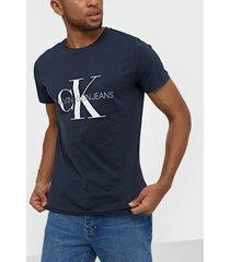 calvin klein jeans iconic monogram ss slim tee t-shirts & linnen blå