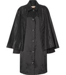 burberry cape detail belted coat - black