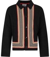 burberry black boy cardigan with iconic stripes