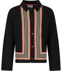 burberry black cardigan for boy with iconic stripes