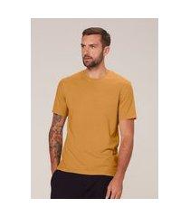 camiseta masculina slim em algodão estonado - amarelo