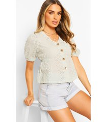 broderie anglaise button through blouse, mint