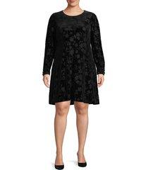 calvin klein women's plus long sleeve velvet burnout dress - black - size 18w